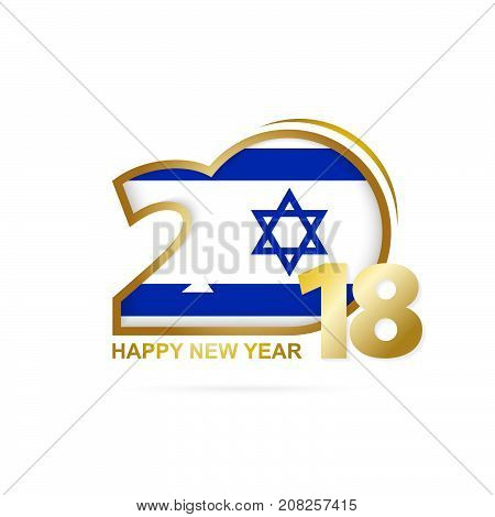 Year 2018 With Israel Flag Pattern. Happy New Year Design.