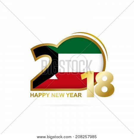 Year 2018 With Kuwait Flag Pattern. Happy New Year Design.