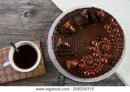 Chocolate Cake With Fresh Strawberry