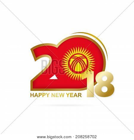 Year 2018 With Kyrgyzstan Flag Pattern. Happy New Year Design.