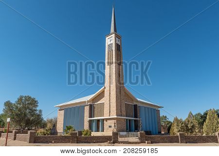KARASBURG NAMIBIA - JUNE 13 2017: The Dutch Reformed Church in Karasburg in the Karas Region of Namibia