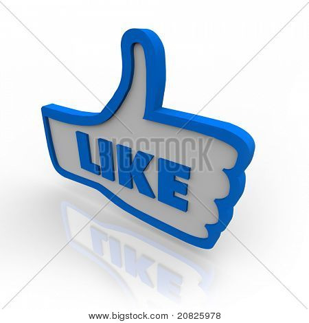 A blue outlined thumbs up icon for approving or liking a website or object under review