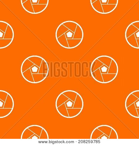 Photographic lens pattern repeat seamless in orange color for any design. Vector geometric illustration