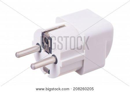 Plug electrical adapter on white background isolation