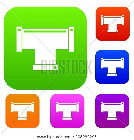 T pipe connection set icon color in flat style isolated on white. Collection sings vector illustration