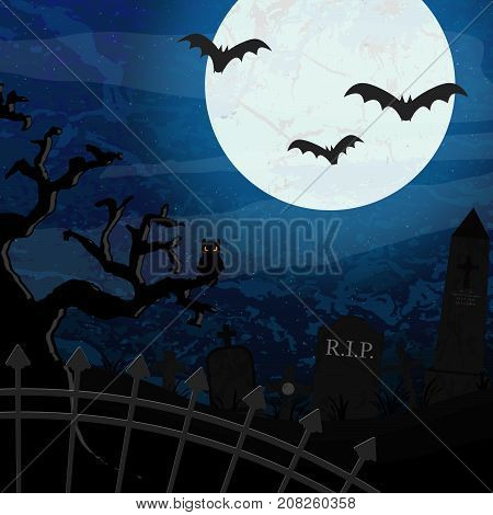 bats in front of full moon with scary illustrated graveyard elements for Halloween background layouts