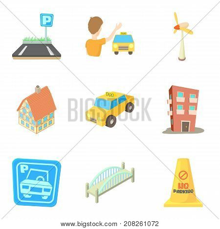 Apartment house icons set. Cartoon set of 9 apartment house vector icons for web isolated on white background