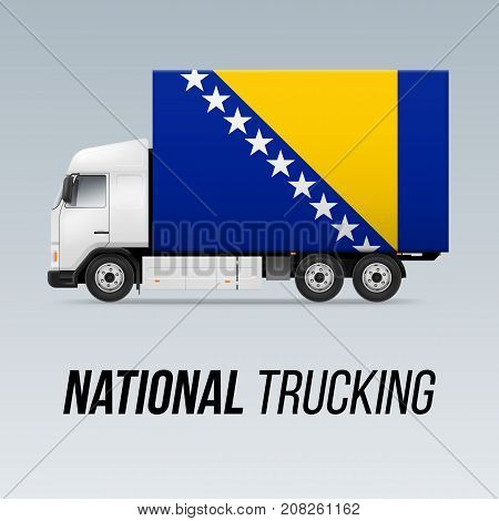 Symbol of National Delivery Truck with Flag of Bosnia and Herzegovina. National Trucking Icon and flag colors