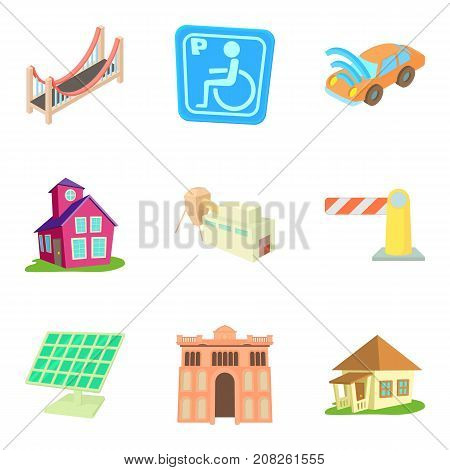 European city icons set. Cartoon set of 9 european city vector icons for web isolated on white background