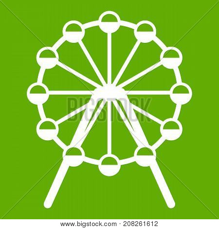 Singapore Flyer, tallest wheel in the world icon white isolated on green background. Vector illustration
