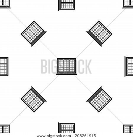 Wooden tricuspid window pattern repeat seamless in black color for any design. Vector geometric illustration
