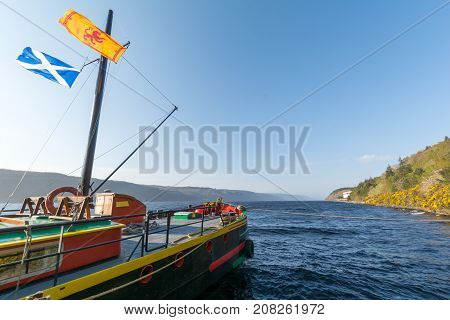 Boat Over The Lake Of Loch Ness, Scotland