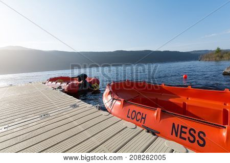 Boats Over The Lake Of Loch Ness, Scotland