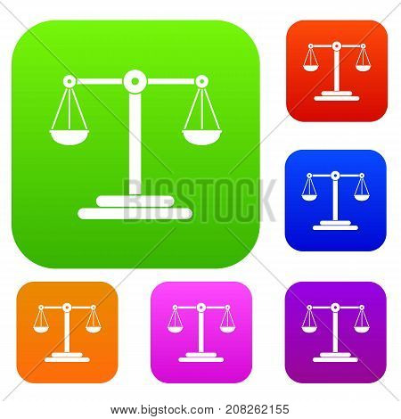 Scales balance set icon color in flat style isolated on white. Collection sings vector illustration