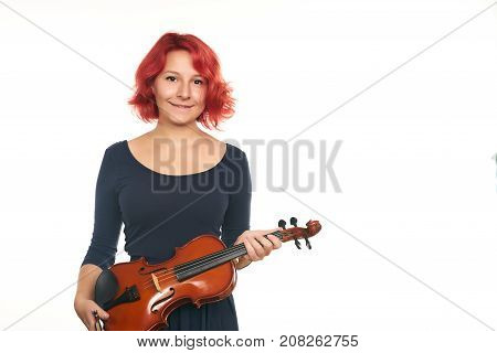 Beautiful Young Woman With Violin