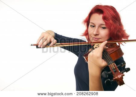 Violinist Young Redhead Woman And Violin