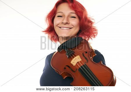 Musician Beautiful Young Woman Playing Violin
