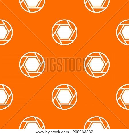 Close objective pattern repeat seamless in orange color for any design. Vector geometric illustration