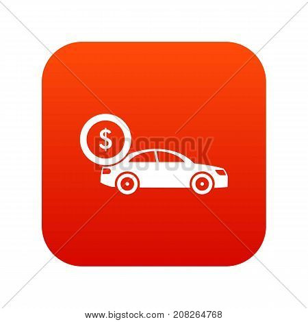 Car and dollar sign icon digital red for any design isolated on white vector illustration