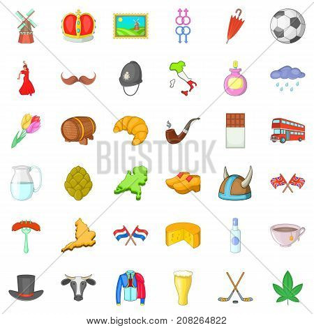 Europe trip icons set. Cartoon style of 36 europe trip vector icons for web isolated on white background