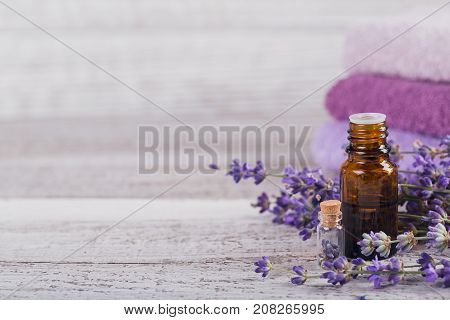 Bottle of essential oil and fresh lavender flowers on a white wooden background. Aromatherapy spa and wellness concept