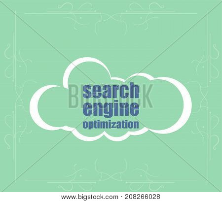 Search Engine Optimization Text. Information Concept . Word Cloud. Successful Idea For Business