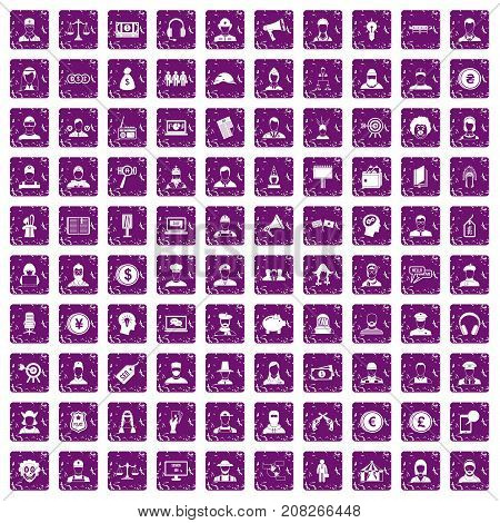 100 headhunter icons set in grunge style purple color isolated on white background vector illustration