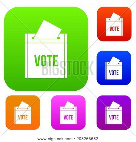 Ballot box set icon color in flat style isolated on white. Collection sings vector illustration