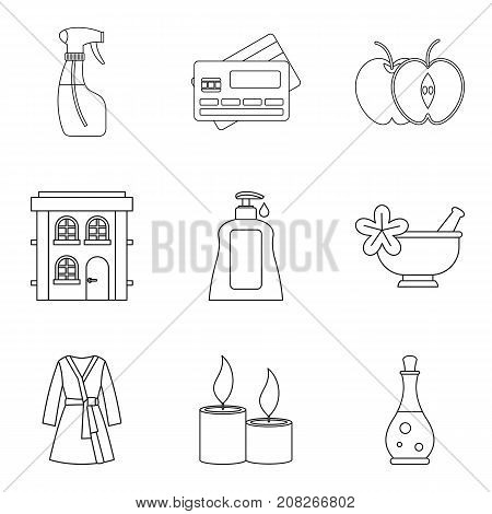Masseur icons set. Outline set of 9 masseur vector icons for web isolated on white background