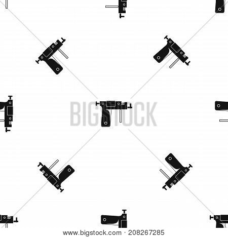 Piercing gun pattern repeat seamless in black color for any design. Vector geometric illustration