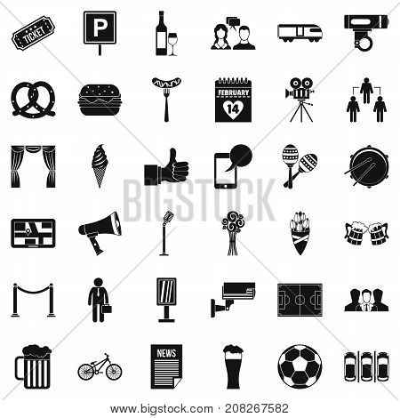 Conversation icons set. Simple style of 36 conversation vector icons for web isolated on white background