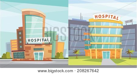 Set Hospital building cartoon modern vector illustration. Medical Clinic building and city background. Emergency room exterior