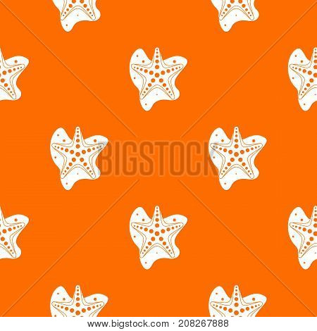 Sea star pattern repeat seamless in orange color for any design. Vector geometric illustration