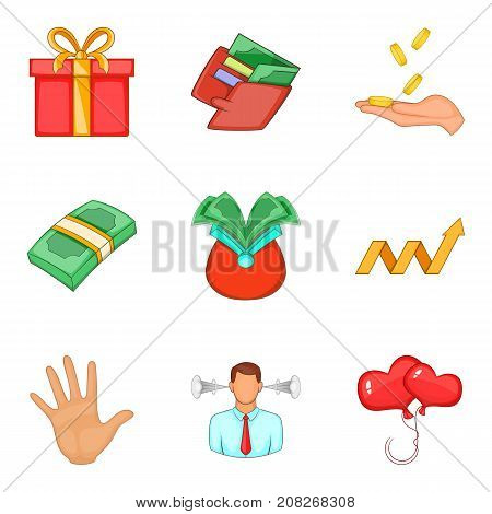 Welfare icons set. Cartoon set of 9 welfare vector icons for web isolated on white background