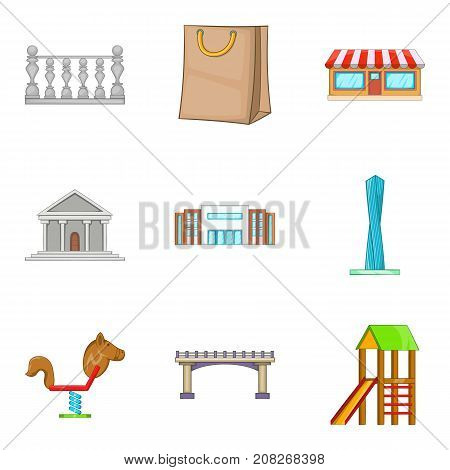 Significant place icons set. Cartoon set of 9 significant place vector icons for web isolated on white background