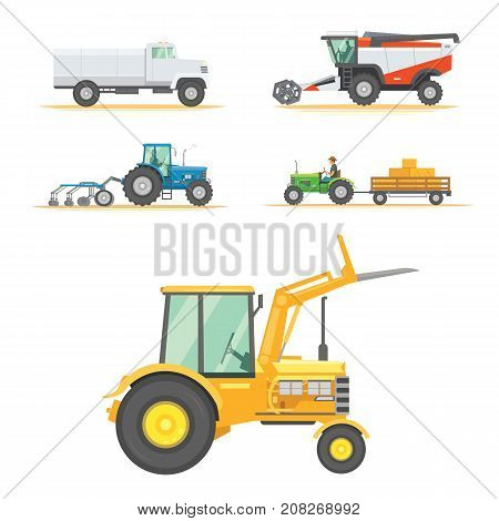 Set farm machinery. agricultural industrial equipment vehicles and farm machines. Tractors, harvesters, combines