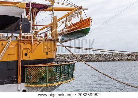 Lifeboat on an old historical sailboat. Sines