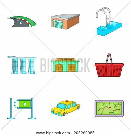 Provincial town icons set. Cartoon set of 9 provincial town vector icons for web isolated on white background