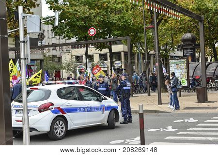 LE MANS FRANCE - OCTOBER 10 2017: Car of police. People demonstrate during a strike against new laws of a president of France Emmanuel Macron