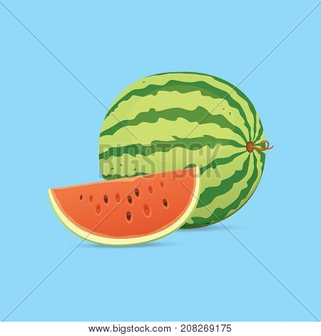 Fresh and juicy red watermelon and slices. Eat tropical fruits watermelons
