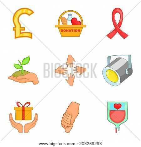 Charity icons set. Cartoon set of 9 charity vector icons for web isolated on white background