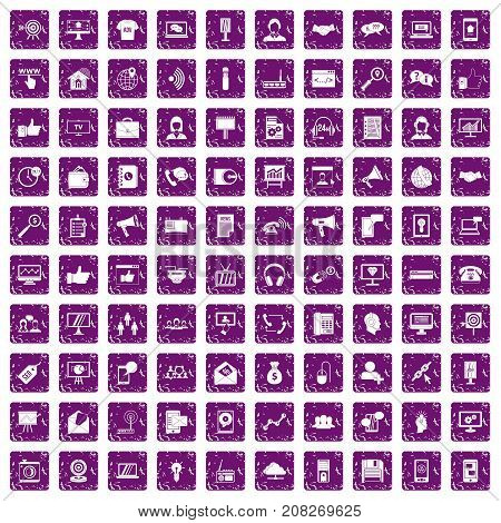 100 help desk icons set in grunge style purple color isolated on white background vector illustration