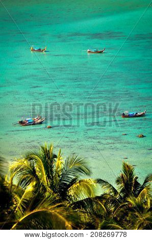 Long Tails on Beach of Ko Phi Phi Don