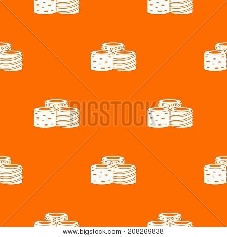 Tasty Turkish delight pattern repeat seamless in orange color for any design. Vector geometric illustration