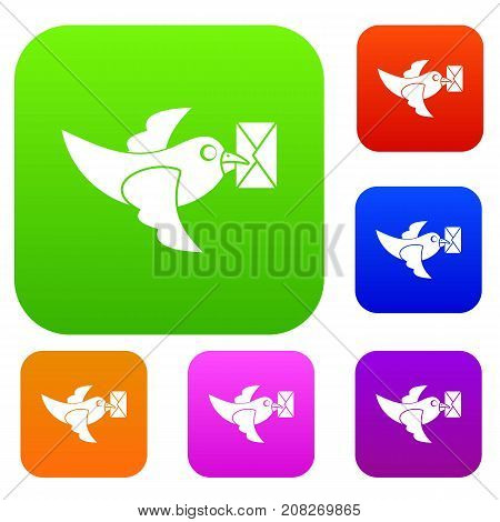 Pigeon fly with mail set icon color in flat style isolated on white. Collection sings vector illustration