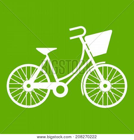 Bike with luggage icon white isolated on green background. Vector illustration