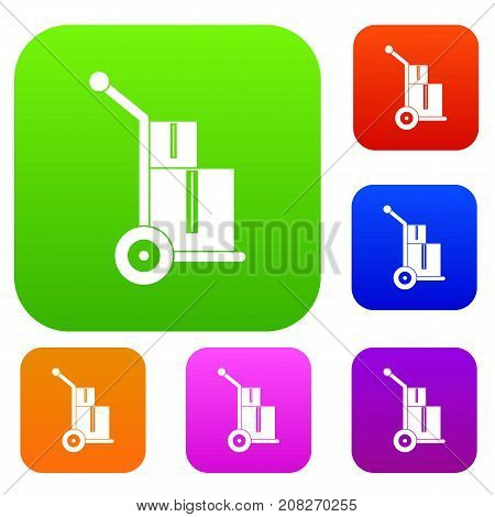 Truck with boxes set icon color in flat style isolated on white. Collection sings vector illustration