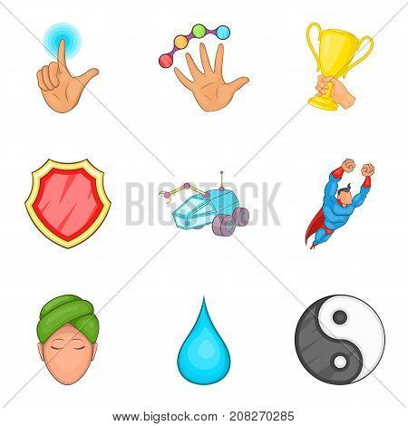 Health correction icons set. Cartoon set of 9 health correction vector icons for web isolated on white background
