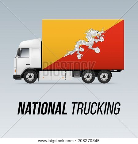 Symbol of National Delivery Truck with Flag of Bhutan. National Trucking Icon and Bhutanese flag