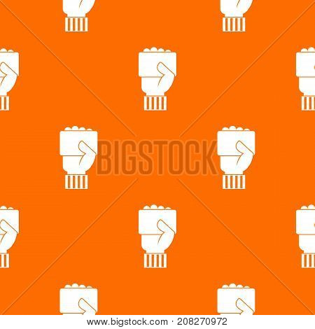 Hand of soccer referee showing card pattern repeat seamless in orange color for any design. Vector geometric illustration